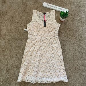 NWT I Heart Ronson White and Yellow Lace Dress